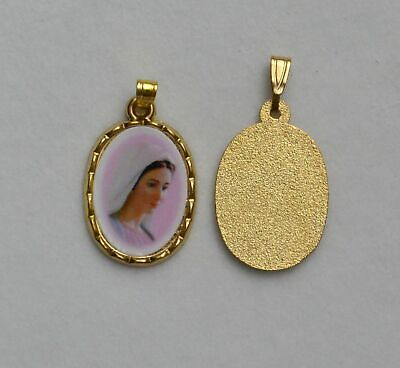 Medjugorje Picture Medal Pendant, 20x15mm Gold Tone Border, Made In Italy Qualit
