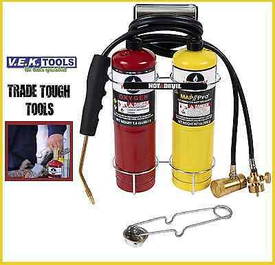 Hot Devil Portable Oxy Map Gas Blow Torch & Cylinders Hdoxy Kit-Welding/brazing
