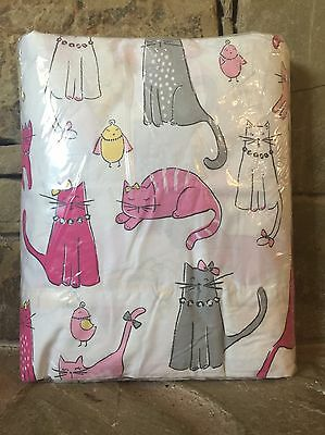 Rare Find! 2 Pc. Pottery Barn Kids Kitty Cat Full Sheet Set (1) Fitted (1) Flat