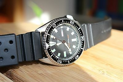 Beautiful Vintage Seiko 6309-7290 6309 Automatic Black Dial Divers Mens Watch