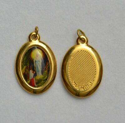 Our Lady Of Lourdes Picture Medal Pendant, 23x18mm Gold Tone Border, Made In Ita