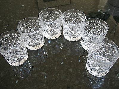 Crystal Whisky Tumbler Glasses x 6