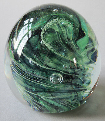 Large Kerry Art Glass Paperweight with original foil label and maker's mark