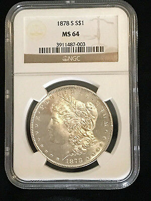 1878 Silver Morgan Dollar, High Grade NGC MS64, First Year of Issue