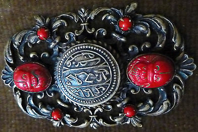 Antique Victorian Islamic Red Coral* Cabachons & Filigree Brooch