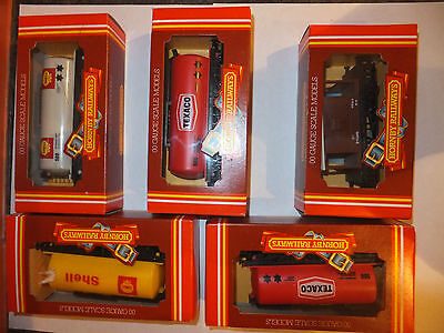 HORNBY OO gauge wagons boxed, 4 tankers SHELL & TEXACO + Guards 20T, ALL MIB