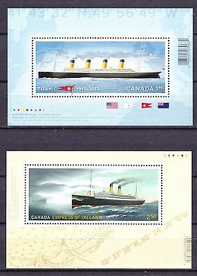 Canada Souvenir Sheets Titanic & Empress Of Ireland Mint Never Hinged