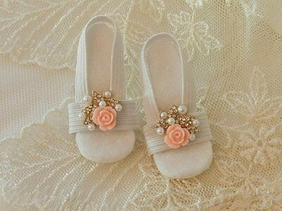 """Peach Rose,Pearls~High Heel Doll Shoes for 20"""" Miss Revlon, Cissy & Others"""