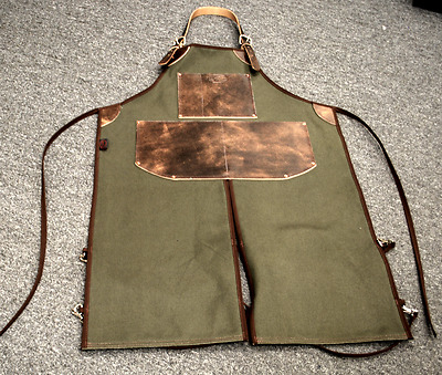 Bike Builder/Mechanic/Barber/Barista Canvas and Leather Apron-Army Green Split