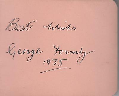 George Formby signed album page