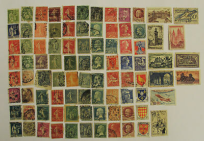 Collection of Antique France Stamps ~ Semeuse Pasteur Peace Memel Cock ~ Old