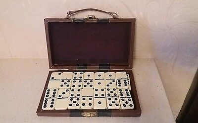 Vintage Dominoes Travel Set Double-Six Dominoes In Faux Leather Case