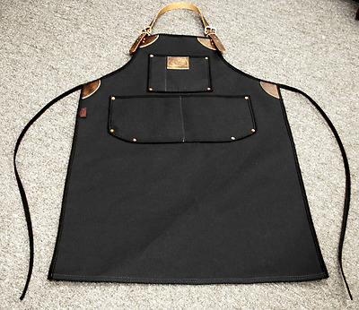 Bike Builder/Mechanic/Barber/Barista Canvas and Leather Apron-Black Plain