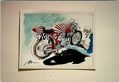 MOTORCYLE ART by Dave Marr Anderson  c1980s Guy Works on Bike on Stand Postcard