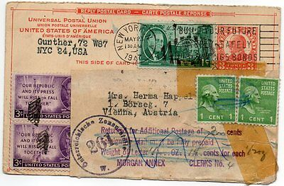 Usa 1947 Censor Card To Austria With Excess Postage Slip