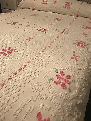 Vintage  Cotton Chenille Spread -White with pink Tufts 74 X 102   SHABBY Pink