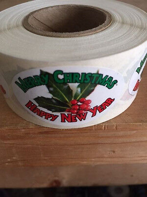 "2"" X 1"" Merry Chistmas Happy New Year Labels 500 Per Roll Great Stickers"