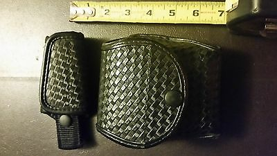 Uncle Mikes Basketweave Double Handcuff & Key holder police security duty belt