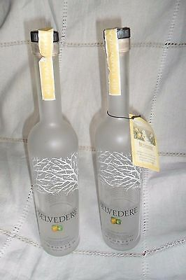 JOB LOT TWO BELVEDERE CYTRUS VODKA EMPTY DUMMY PROMOTIONAL BOTTLES 70cl, 35 cm