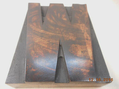 Printing Letterpress Wood Type, Letter W Solid Wood Antique, Printers Cut