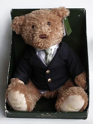 """Harrods 13"""" Foot Dated 2010 Annual Jointed Teddy Named Woodman Bear Boxed"""