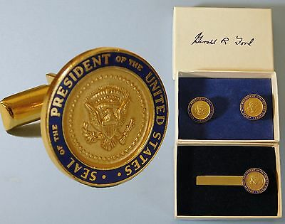 2 Authentic Presidential Seal Gerald R Ford  White House gifts Cufflinks Tiebar