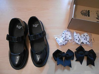 Brand New - Dr Martens Airwair Black Shoes Size 6 With 2 Sets Of Detachable Bows