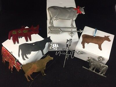 Lot Of 8 Cow Christmas Tree Ornaments - Tin Copper Brass Painted York Pewter