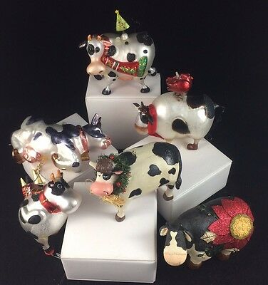 Lot Of 6 Cow Christmas Tree Ornaments - Blown Glass Holstein Country Farm
