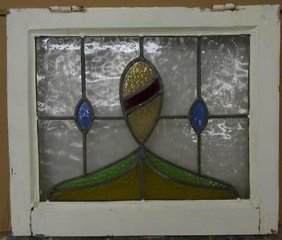 """OLD ENGLISH LEADED STAINED GLASS WINDOW Nice Abstract 21.5"""" x 18.25"""""""