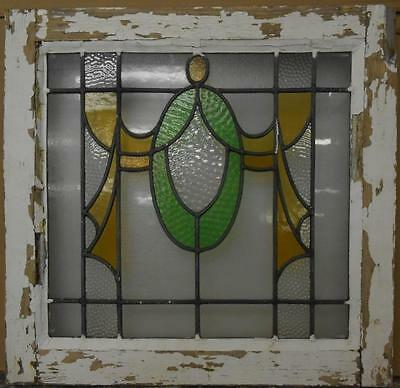 "OLD ENGLISH LEADED STAINED GLASS WINDOW Beautiful Swag Design 21.5"" x 20.75"""