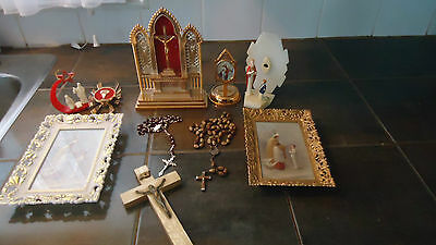 VINTAGE religious lot   Rosary cross pictures first communion plastic alter