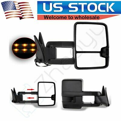 For 1988-1998 Chevy GMC C/K Signals Backup Lamps Black Power Towing Mirrors Pair