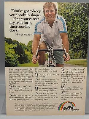 Vintage Magazine Ad Print Design Advertising AMF Bicycle Mickey Mantle