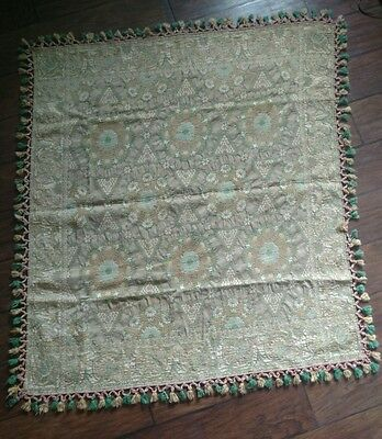 vintage embroidered silk piano shawl table cloth