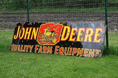 Holy Grail!!! 1920's 3' X 9' John Deere Porcelain Dealership Metal Sign Farm
