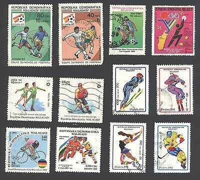 12x different SPORTING theme Madagascar Postage Stamps - sport olympics football