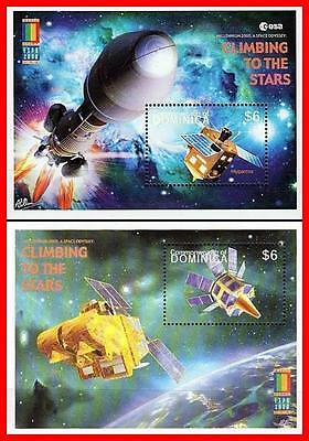 DOMINICA 2000 ASTRONOMY & SPACE x2 S/S MNH ** FREE POSTAGE is POSSIBLE