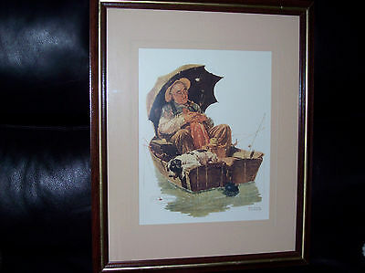 "Norman Rockwell Framed Print ""Gone Fishing"" great condition"