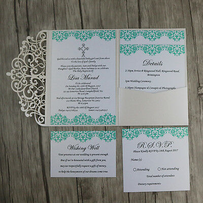 Ivory Pocket Laser Cut out Personalized Wedding Invitations Cards With Envelopes