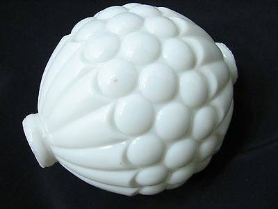 White Milk Glass Quilted Button Lightning Rod Ball Barn Globe Sphere Dot Light