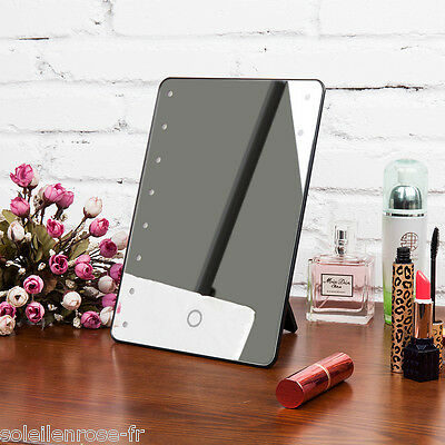 UK STOCK! LED Make up Mirror Illuminated Cosmetic Mirror with storage and lights