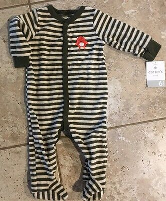 *NEW Carter's Baby Boy's Striped Sleeper Snap Pajama Martian Size 6 Months