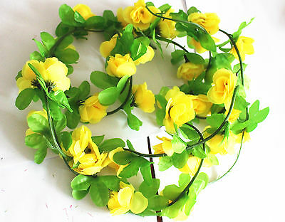 yellow Brand new and high quality  Material:  Silk flowers, leaves. plastic vine