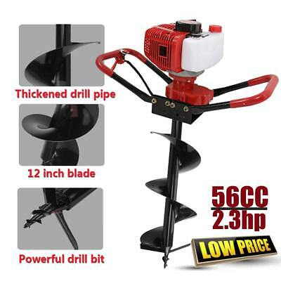 """56cc Gas Power Earth One Man Post Fence Hole Digger & Drill Bits 12"""" Auger CE GS"""