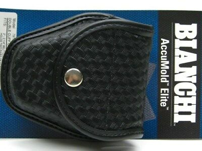 BIANCHI Black 7917 Basketweave Doubled ACCUMOLD ELITE Handcuff Cuff Case! 22179