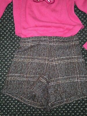 Right Bank Babies Wool Gingham Brown Green Tweed Gathered Belt Shorts Age 6