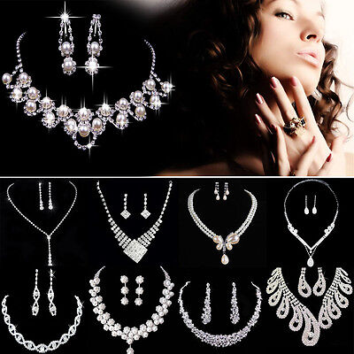 Fashion Earrings + Necklace Elegant Jewelry Set Women Wedding Party Rhinestone