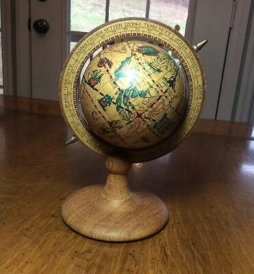 "Vintage Small Wood Globe 7"" Tall Decorative Table Hong Kong"
