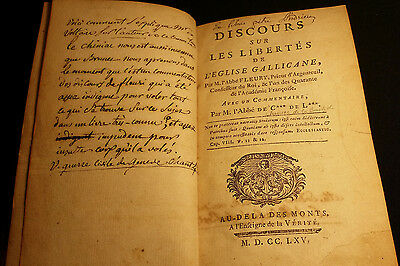 Old Book 1765 Discourse on the freedoms of the Church Gallicane